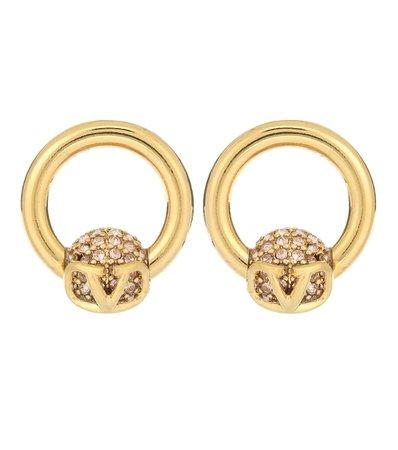 Valentino Garavani Vlogo Embellished Earrings | Valentino - Mytheresa
