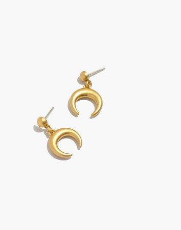Chunky Crescent Moon Drop Stud Earrings