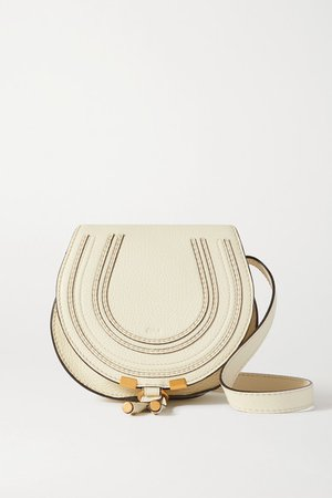 Marcie Mini Textured-leather Shoulder Bag - White
