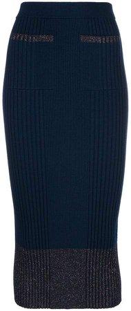 lurex knit ribbed skirt