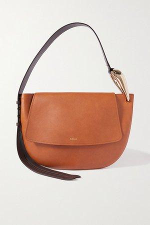 Kiss Leather Shoulder Bag - Brown