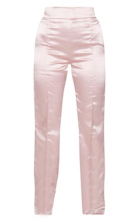 Pink Satin Straight Leg Trousers | Trousers | PrettyLittleThing