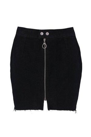 Zip Detail Denim Micro Mini Skirt   boohoo