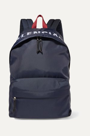 Wheel Embroidered Shell Backpack - Navy