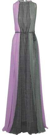 Color-block Gingham Silk-chiffon Gown
