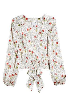 Topshop Floral Dot Tie Front Satin Blouse white