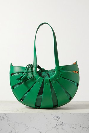The Shell Medium Leather Shoulder Bag - Green