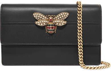 Queen Margaret Embellished Leather Shoulder Bag - Black