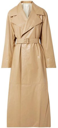 Moora Leather Trench Coat - Tan
