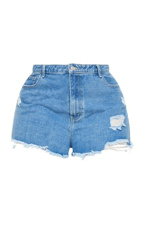 Plus Light Blue Wash Distressed Denim Mom Shorts | PrettyLittleThing USA