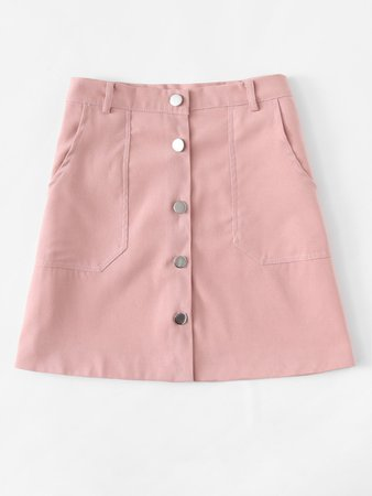 Single Breasted Dual Pocket Skirt | ROMWE