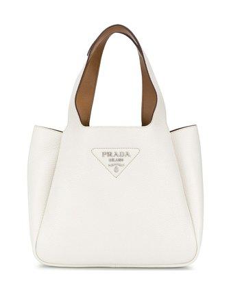 White Prada logo plaque tote bag 1BG335VOOM2DKV - Farfetch