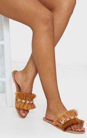Gold Tassel And Pom Pom Mule Sandals | PrettyLittleThing