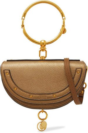 Nile Bracelet Mini Metallic Textured-leather Shoulder Bag - Gold