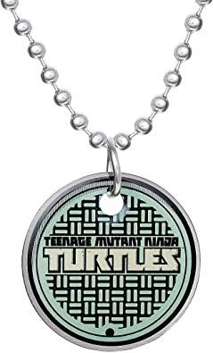 "Nickelodeon Teenage Mutant Ninja Turtles' Sewer Cover Stainless Steel Pendant Necklace, 16"" Chain"