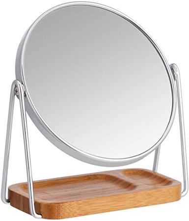 AmazonBasics Vanity Mirror with Squared Bamboo Tray - 1X/5X Magnification: Amazon.ca: Home & Kitchen