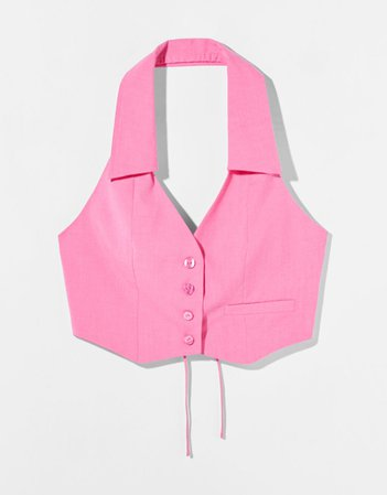 Tailored lace-up halter top - NEW - Woman   Bershka
