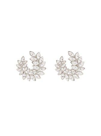 Kenneth Jay Lane Silver-Tone Crystal Clip Earrings Ss20   Farfetch.com