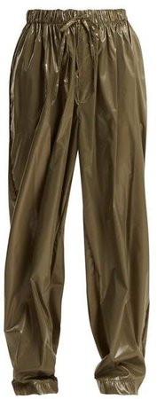 Edward Crutchley - Drawstring Waist Wide Leg Shell Trousers - Womens - Khaki