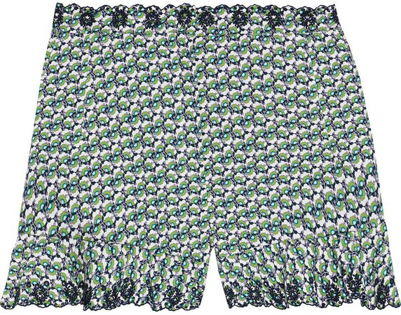 Printed Broderie Anglaise Cotton Shorts