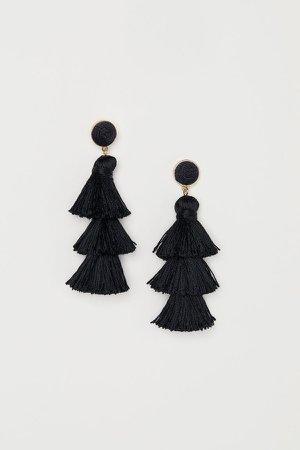 Tasseled Earrings - Black