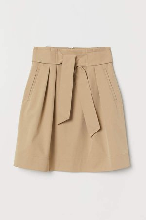 Skirt with Tie Belt - Beige