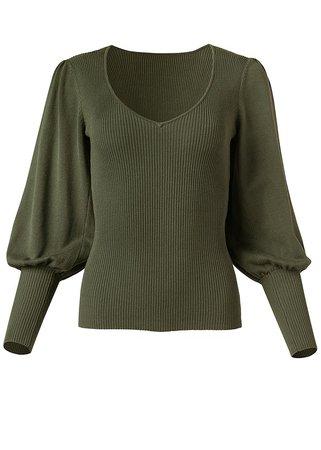 VENUS | Puff Sleeve Sweater in Olive