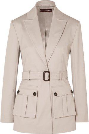 ALEXACHUNG | Belted cotton-blend drill blazer | NET-A-PORTER.COM