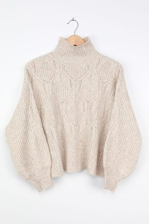 Cream Sweater - Cute Turtleneck Sweater - Pointelle Knit Sweater