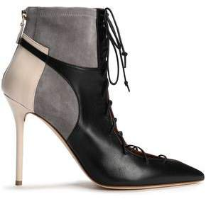 Montana Lace-up Suede-paneled Color-block Leather Ankle Boots