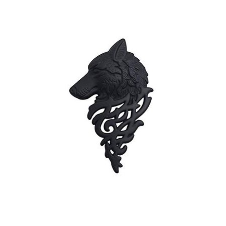 Matte Black Wolf Head Brooch Pin