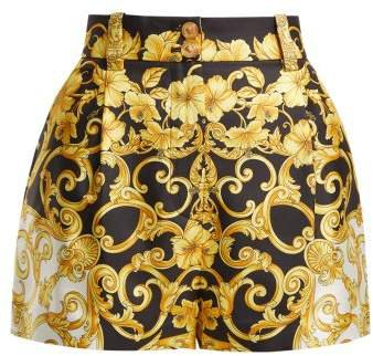 Hibiscus Silk Shorts - Womens - Gold Multi
