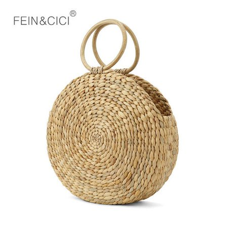Online Shop Beach bag round Rattan Bag circle straw totes basket bag women summer handmade handbag 2019 Boho high quality drop shipping | Aliexpress Mobile