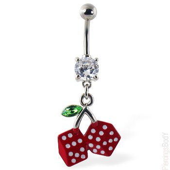 cherry dice belly ring