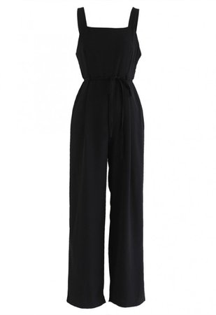 Belted Pockets Wide-Leg Cami Jumpsuit in Black - NEW ARRIVALS - Retro, Indie and Unique Fashion