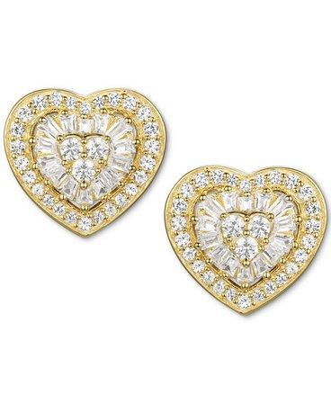 Macy's Diamond Baguette Heart Stud Earrings (1/2 ct. t.w.) in 14k Gold , 14k White Gold or 14k Rose Gold & Reviews - Earrings - Jewelry & Watches - Macy's