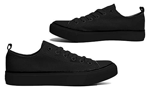 Amazon.com | Women's Low Top Classic Canvas Fashion Sneaker Basketball Tennis Athletic Shoes Cap Toe (7, Black/Black) | Fashion Sneakers