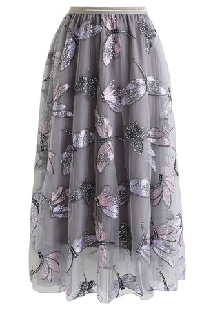 Chic Wish Sequin Dragonfly Embroidery Mesh Tulle Skirt in Grey - Retro, Indie and Unique Fashion