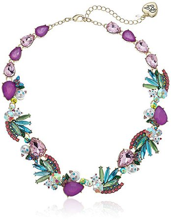 Amazon.com: Betsey Johnson Women's Colorful Stone and Cat Cluster Collar Chain Necklace, Multi, One Size: Gateway