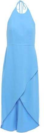 Kristy Wrap-effect Crepe Halterneck Dress