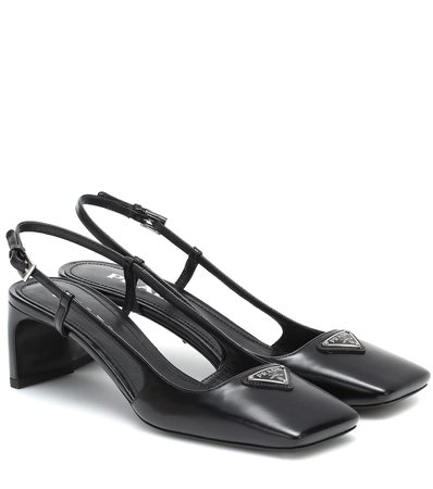 Prada - Leather slingback pumps | Mytheresa