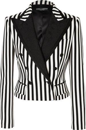 Dolce & Gabbana   Cropped jacquard-trimmed striped cady blazer   NET-A-PORTER.COM