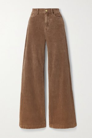 Light brown Le Palazzo wide-leg cotton-blend corduroy pants   FRAME   NET-A-PORTER