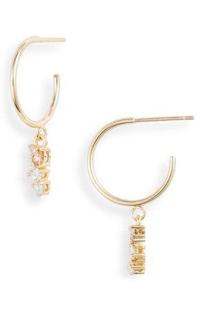 Argento Vivo Cubic Zirconia & Imitation Pearl Huggie Hoop Earrings | Nordstrom