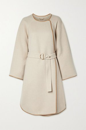 Beige Belted leather-trimmed wool and cashmere-blend coat | Chloé | NET-A-PORTER