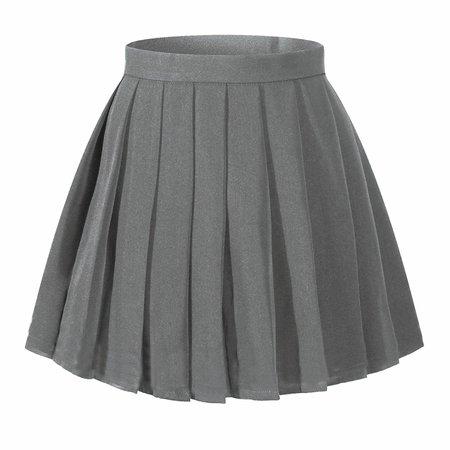 High Waisted Pleated Skirt - Dark Grey