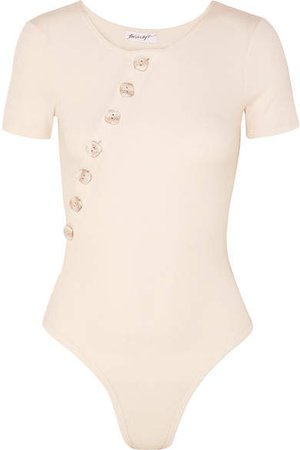 The Line By K - Kym Button-embellished Ribbed Stretch Cotton-jersey Bodysuit - Cream