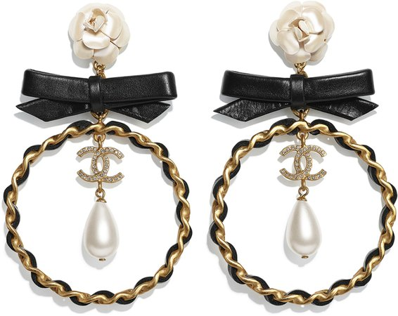 Earrings, metal, glass pearls, calfskin and rhinestones, gold, mother of pearl white, black and glass - CHANEL
