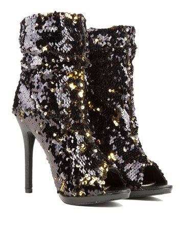 sequin boot heels