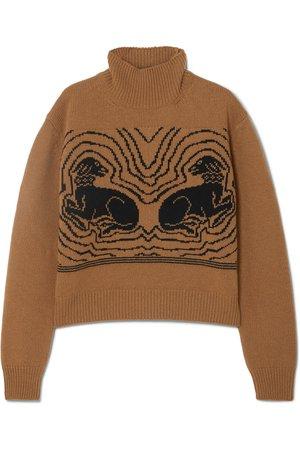 ALEXACHUNG   Cropped intarsia wool turtleneck sweater   NET-A-PORTER.COM
